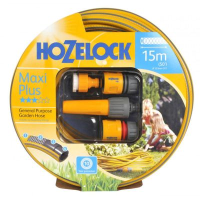 Hozelock 7215-Y Starter Set Maxi-Plus Hose with Accessories (15M)