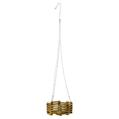 """Octagon Teak Wood Hanging Basket (10"""" Round)"""
