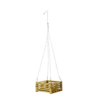 """Square Teak Wood Hanging Basket (6"""" Square)"""