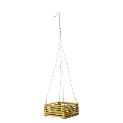 """Square Teak Wood Hanging Basket (7"""" Square)"""