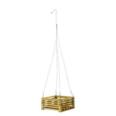 """Square Teak Wood Hanging Basket (8"""" Square)"""