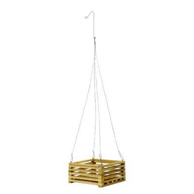 """Square Teak Wood Hanging Basket (9"""" Square)"""